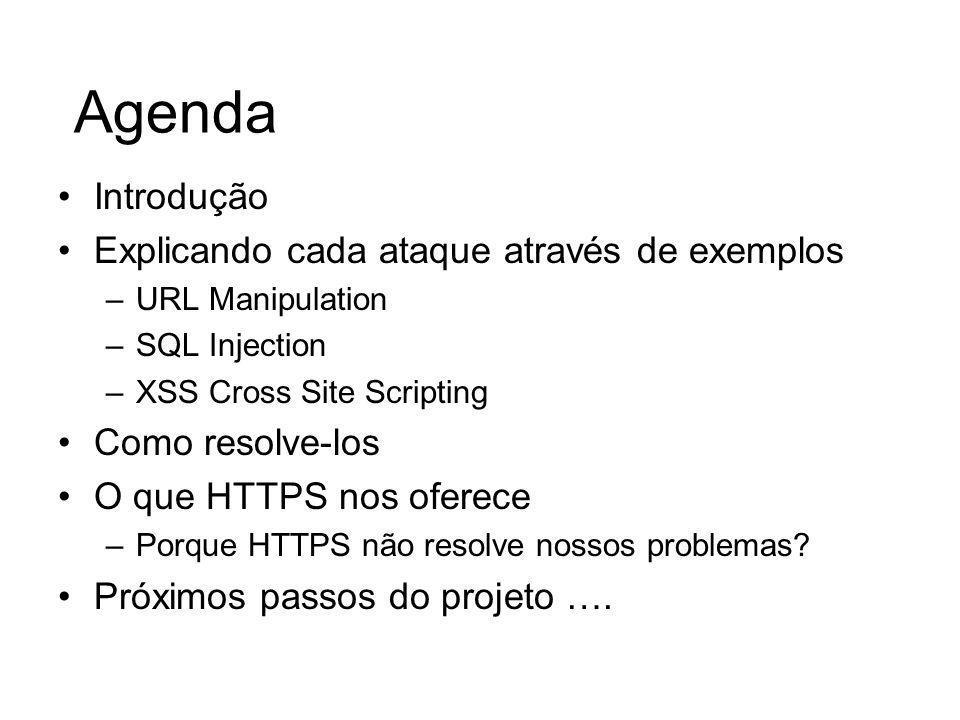 Agenda Introdução Explicando cada ataque através de exemplos