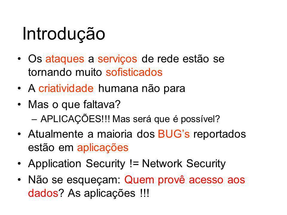Introdução Os ataques a serviços de rede estão se tornando muito sofisticados. A criatividade humana não para.