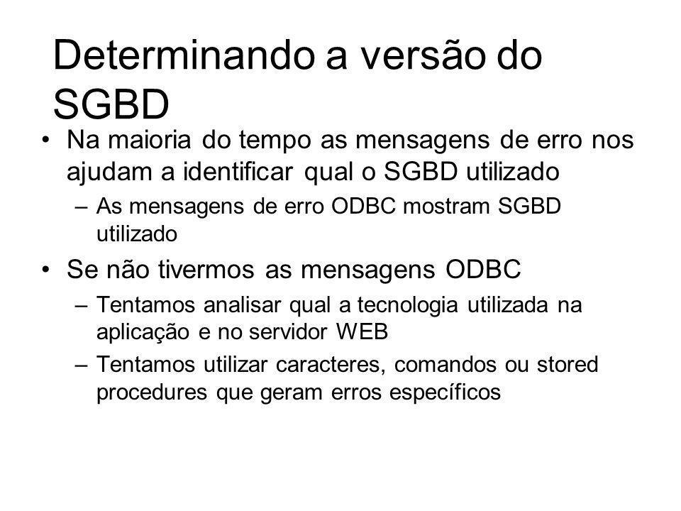 Determinando a versão do SGBD