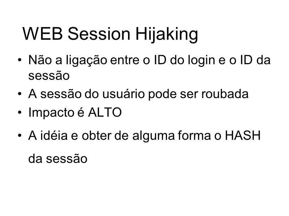 WEB Session HijakingNão a ligação entre o ID do login e o ID da sessão. A sessão do usuário pode ser roubada.