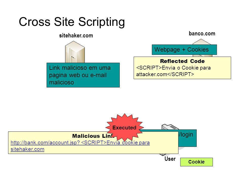 Cross Site Scripting banco.com sitehaker.com Webpage + Cookies