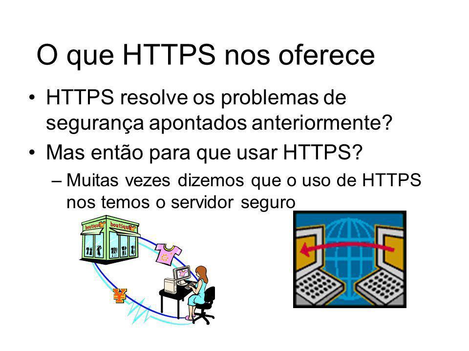 O que HTTPS nos oferece HTTPS resolve os problemas de segurança apontados anteriormente Mas então para que usar HTTPS