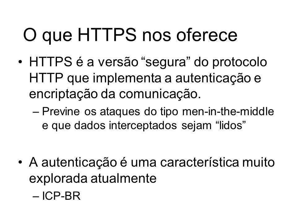 O que HTTPS nos oferece HTTPS é a versão segura do protocolo HTTP que implementa a autenticação e encriptação da comunicação.