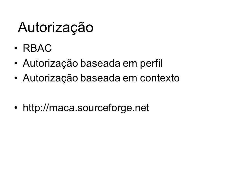 Autorização RBAC Autorização baseada em perfil