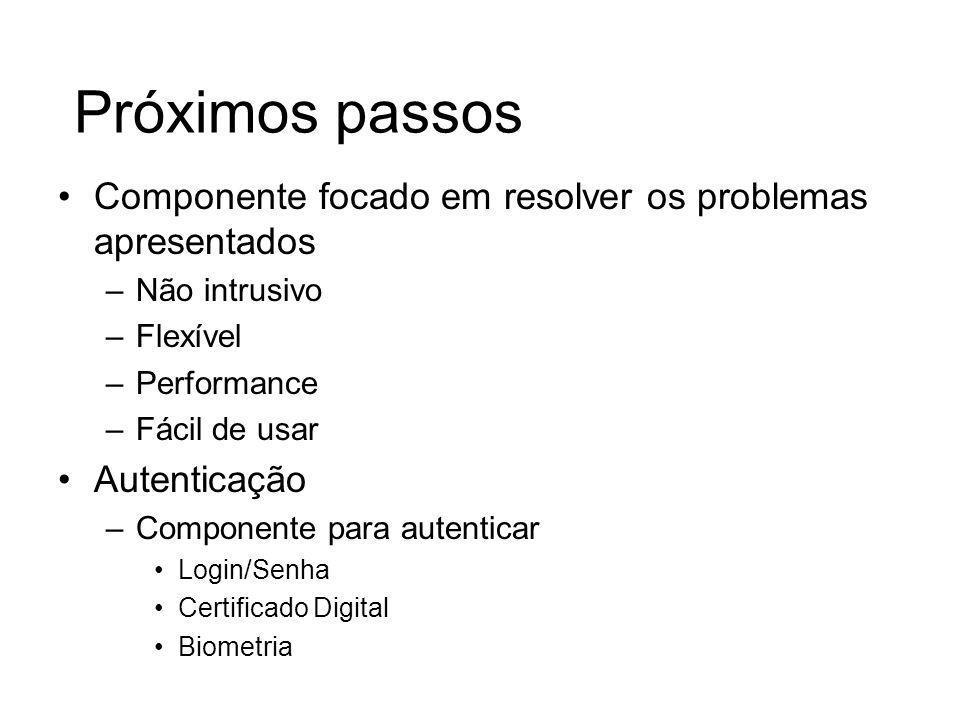 Próximos passosComponente focado em resolver os problemas apresentados. Não intrusivo. Flexível. Performance.
