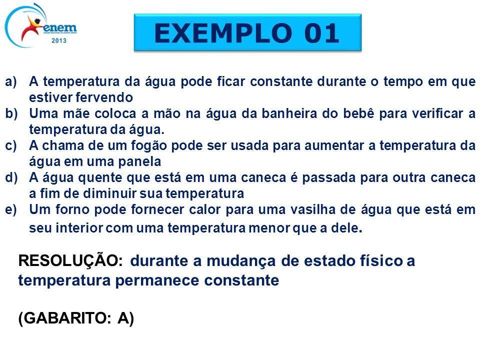 EXEMPLO 01 A temperatura da água pode ficar constante durante o tempo em que estiver fervendo.