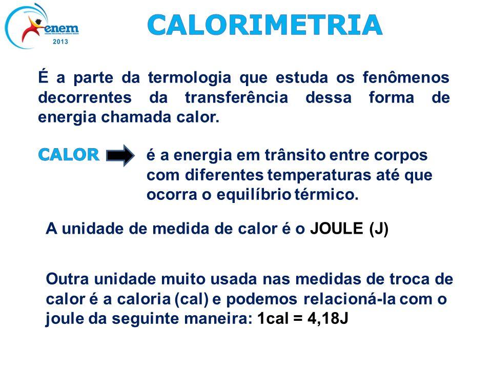 CALORIMETRIAÉ a parte da termologia que estuda os fenômenos decorrentes da transferência dessa forma de energia chamada calor.