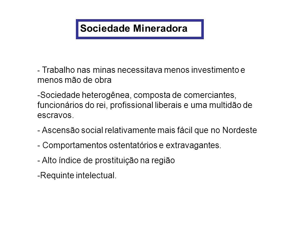 Sociedade Mineradora- Trabalho nas minas necessitava menos investimento e menos mão de obra.