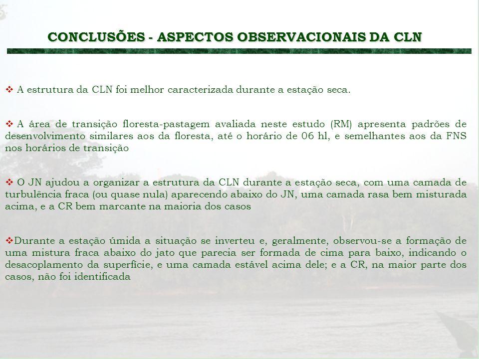 CONCLUSÕES - ASPECTOS OBSERVACIONAIS DA CLN