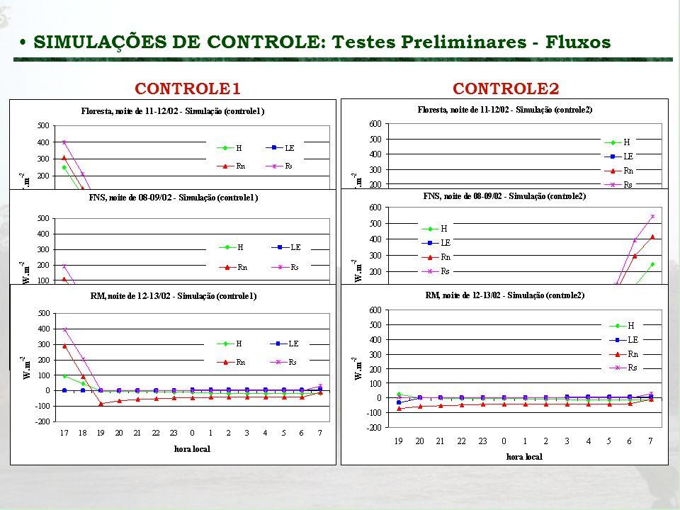 SIMULAÇÕES DE CONTROLE: Testes Preliminares - Fluxos
