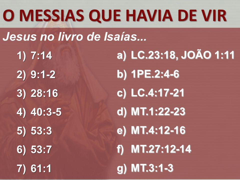 O MESSIAS QUE HAVIA DE VIR