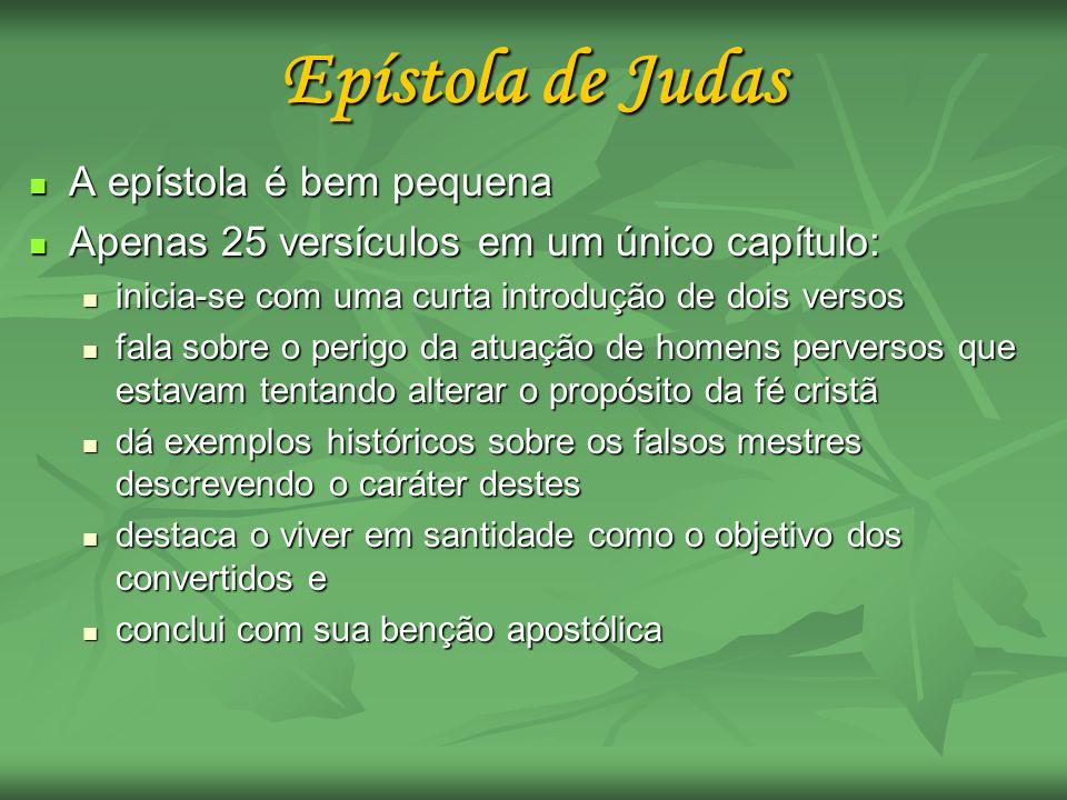 Epístola de Judas A epístola é bem pequena