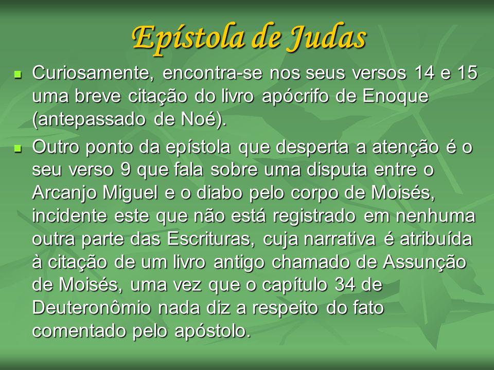 Epístola de Judas Curiosamente, encontra-se nos seus versos 14 e 15 uma breve citação do livro apócrifo de Enoque (antepassado de Noé).