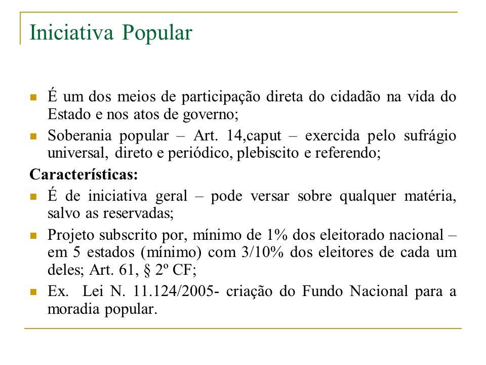 Iniciativa Popular É um dos meios de participação direta do cidadão na vida do Estado e nos atos de governo;