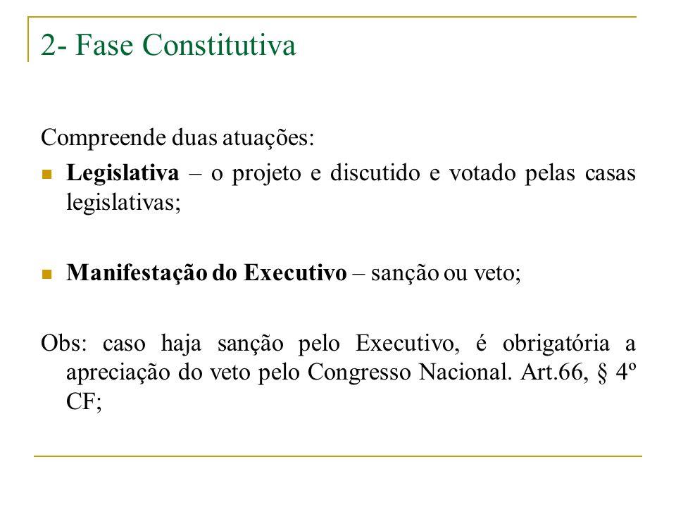2- Fase Constitutiva Compreende duas atuações:
