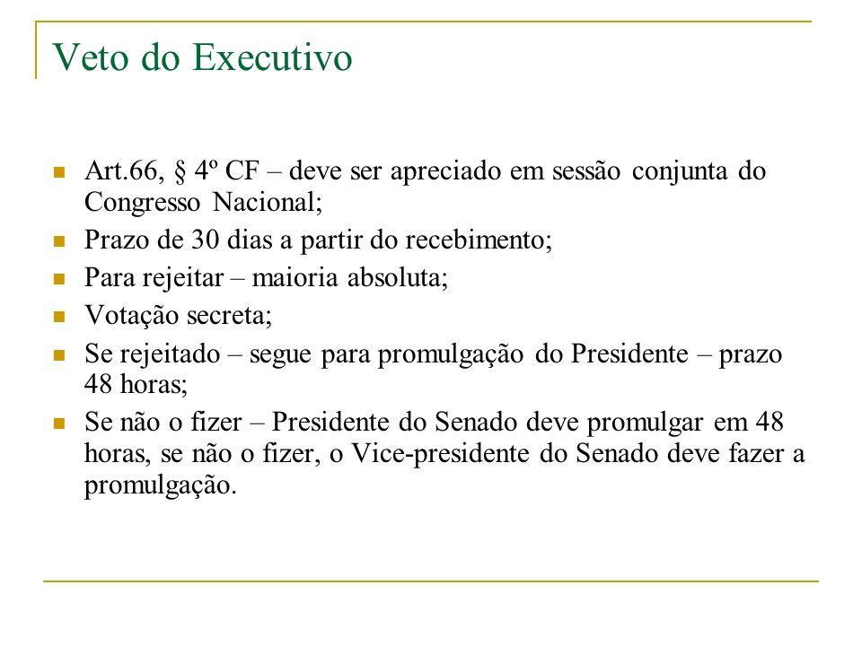 Veto do Executivo Art.66, § 4º CF – deve ser apreciado em sessão conjunta do Congresso Nacional; Prazo de 30 dias a partir do recebimento;