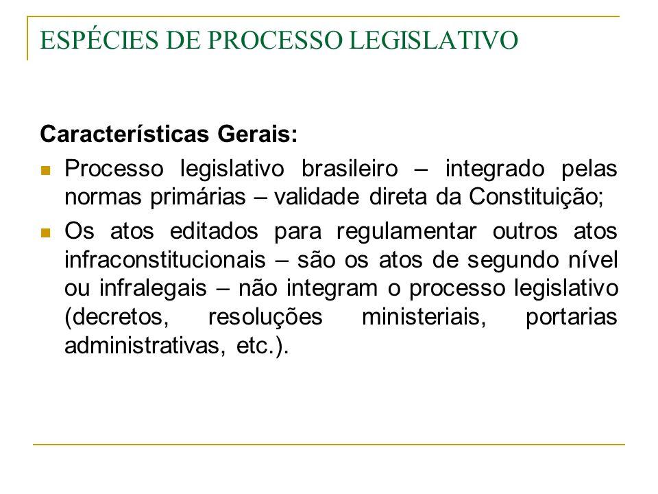 ESPÉCIES DE PROCESSO LEGISLATIVO