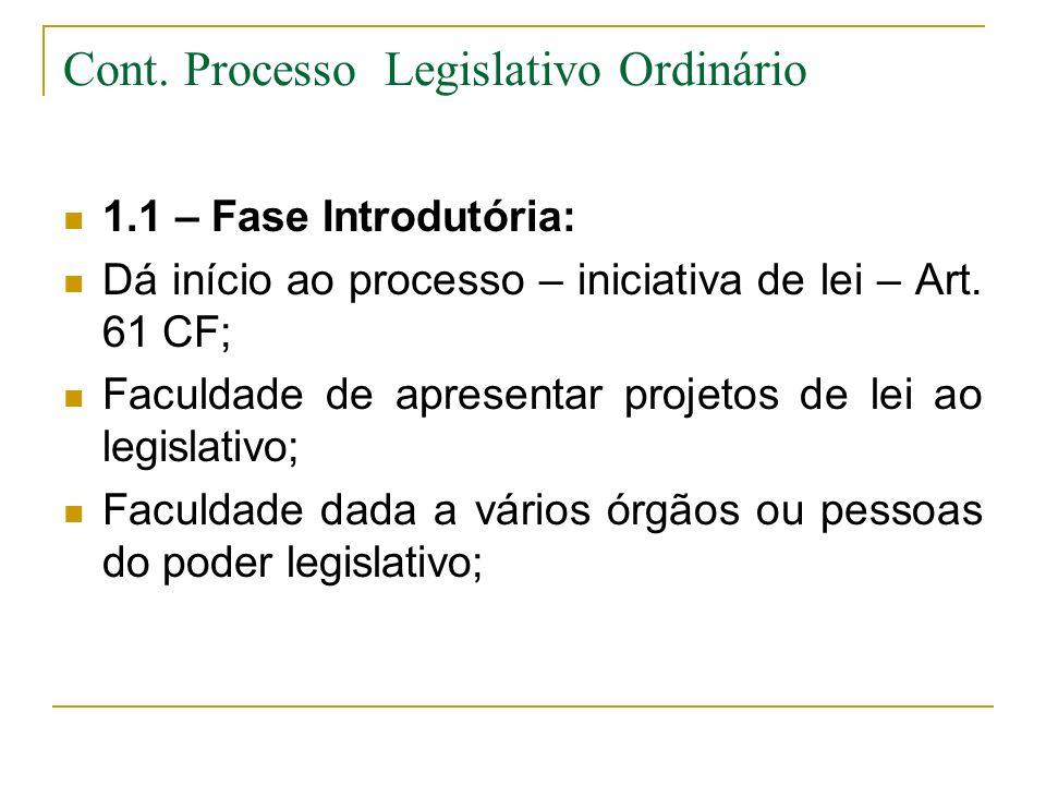 Cont. Processo Legislativo Ordinário