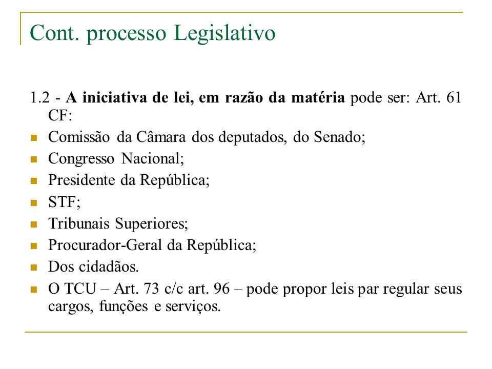 Cont. processo Legislativo