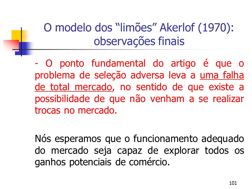 O modelo dos limões Akerlof (1970): observações finais