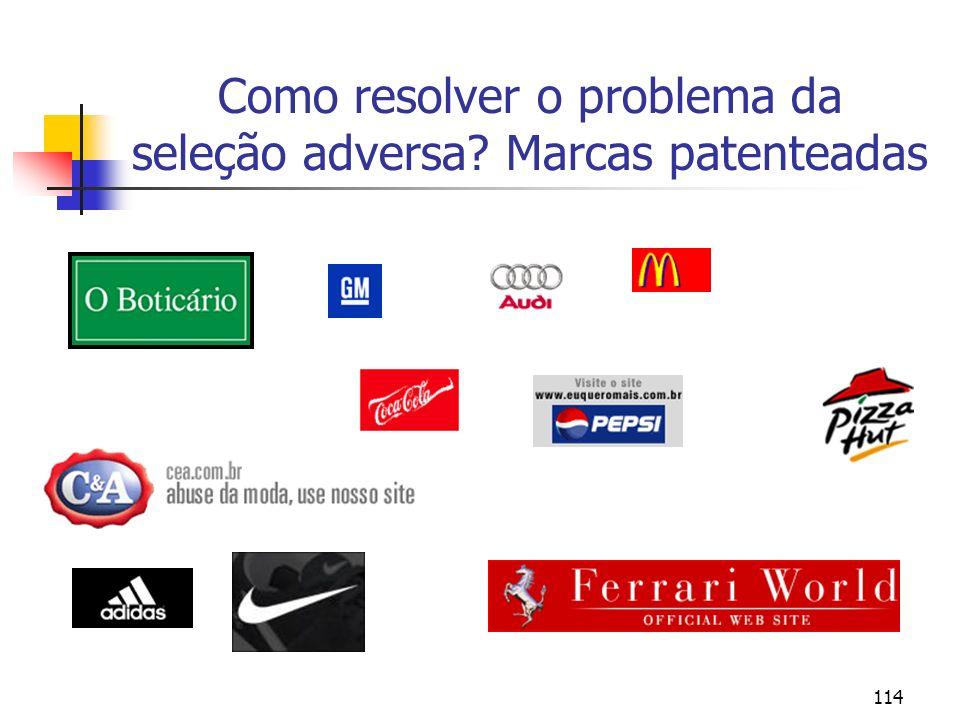Como resolver o problema da seleção adversa Marcas patenteadas
