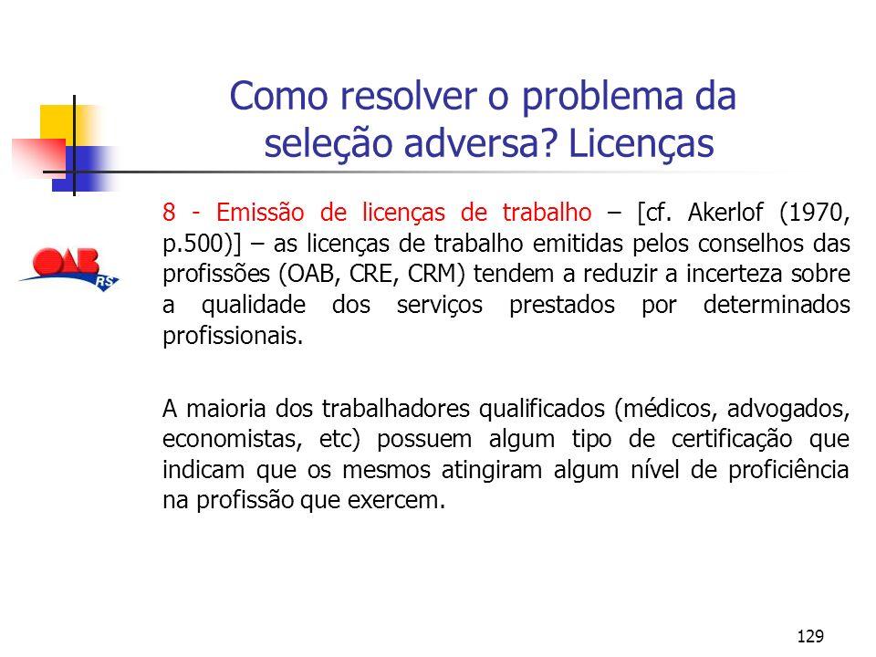 Como resolver o problema da seleção adversa Licenças
