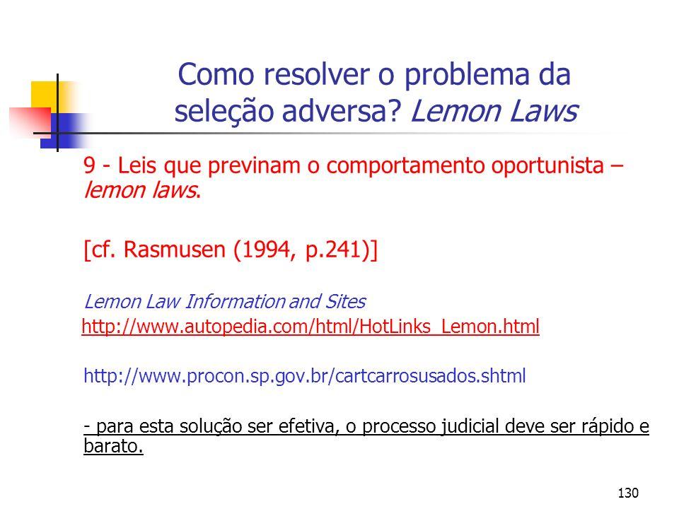 Como resolver o problema da seleção adversa Lemon Laws