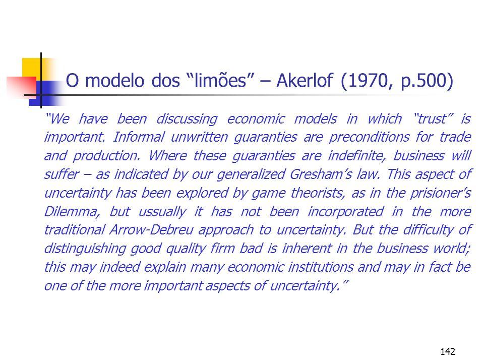 O modelo dos limões – Akerlof (1970, p.500)