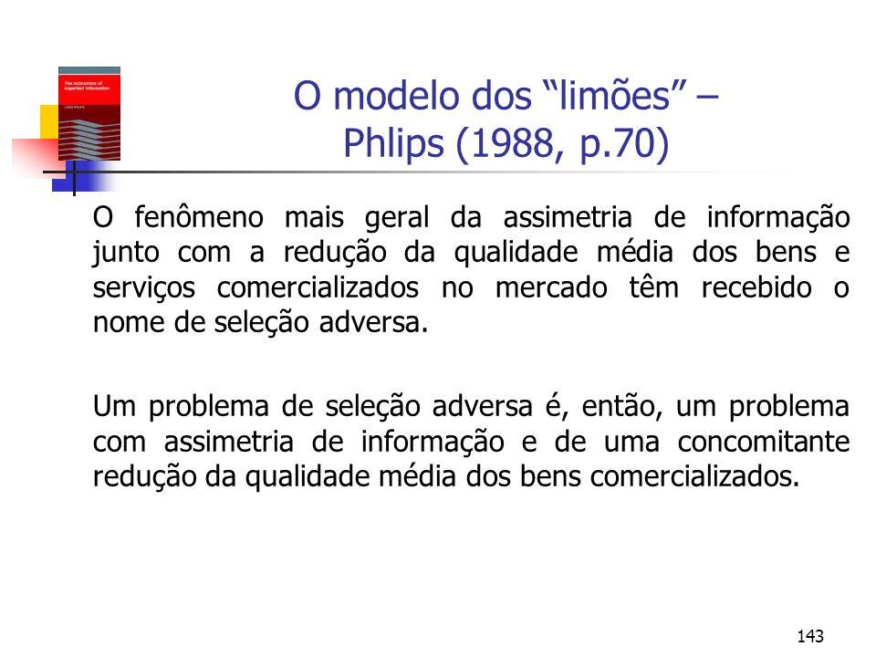 O modelo dos limões – Phlips (1988, p.70)