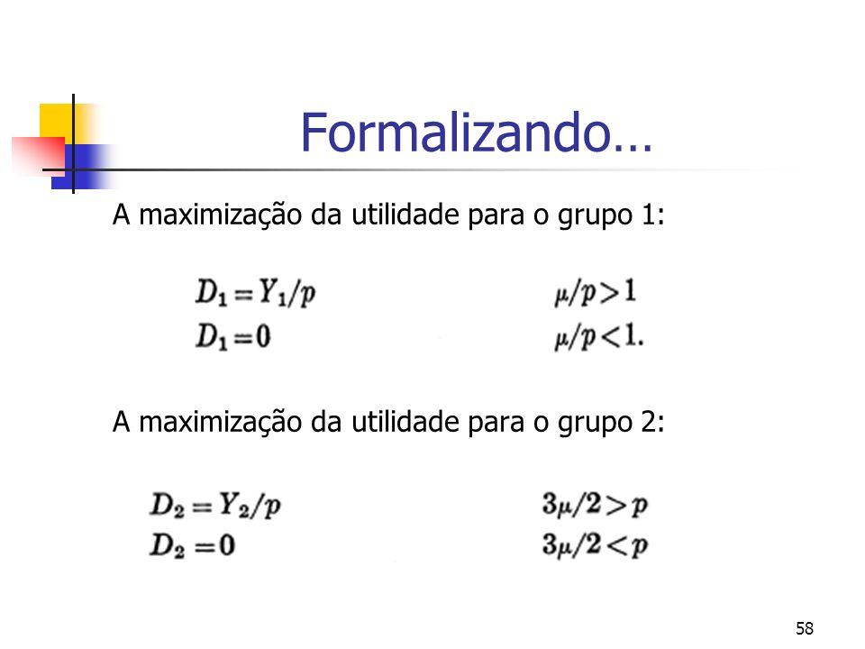 Formalizando… A maximização da utilidade para o grupo 1: