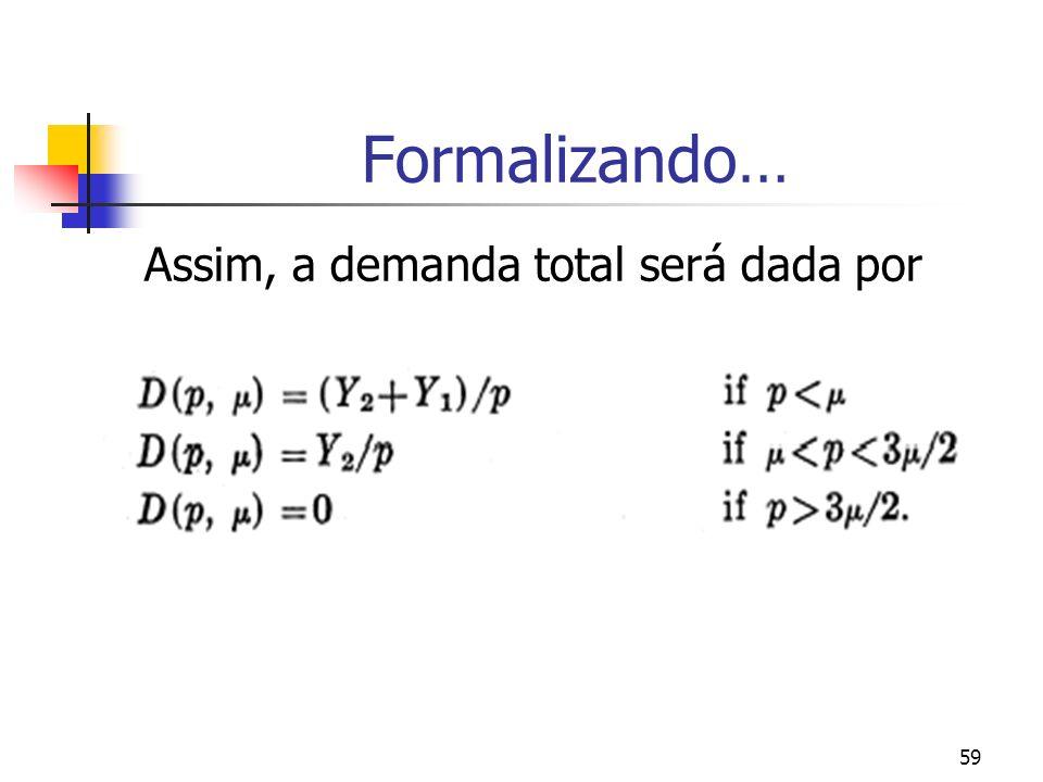 Formalizando… Assim, a demanda total será dada por