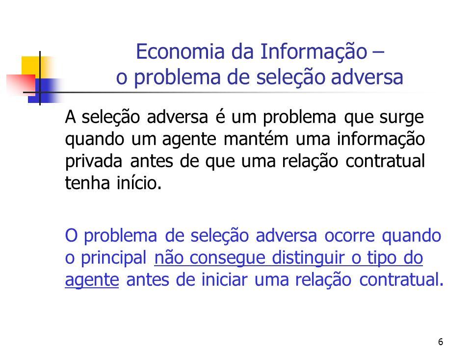 Economia da Informação – o problema de seleção adversa