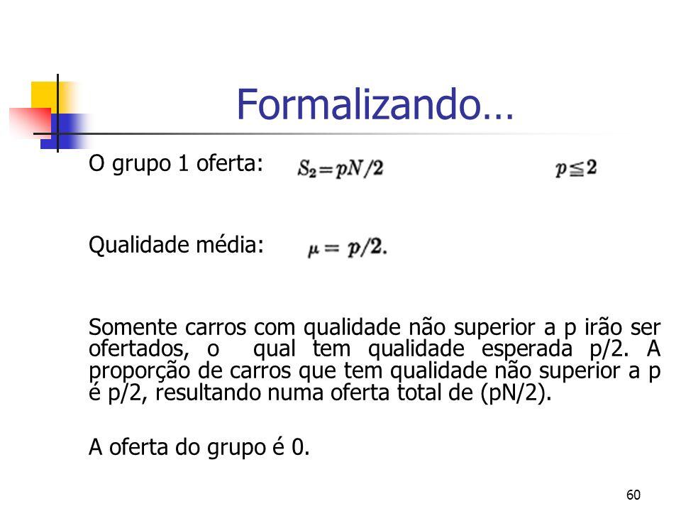 Formalizando… O grupo 1 oferta: Qualidade média: