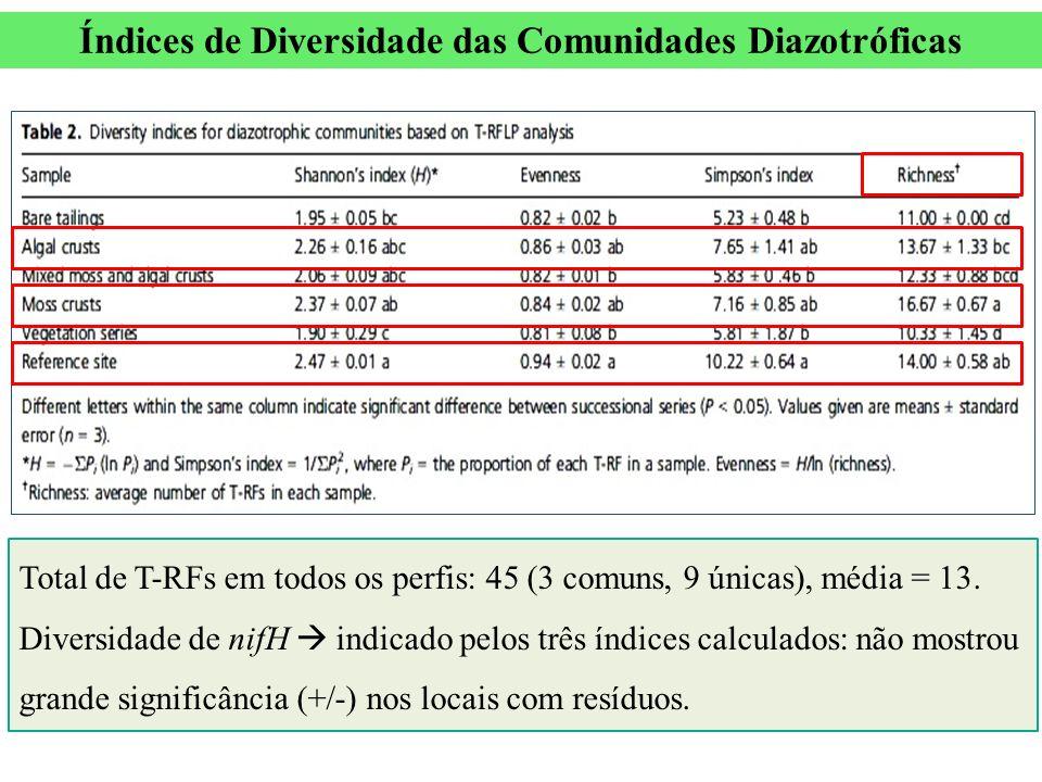 Índices de Diversidade das Comunidades Diazotróficas