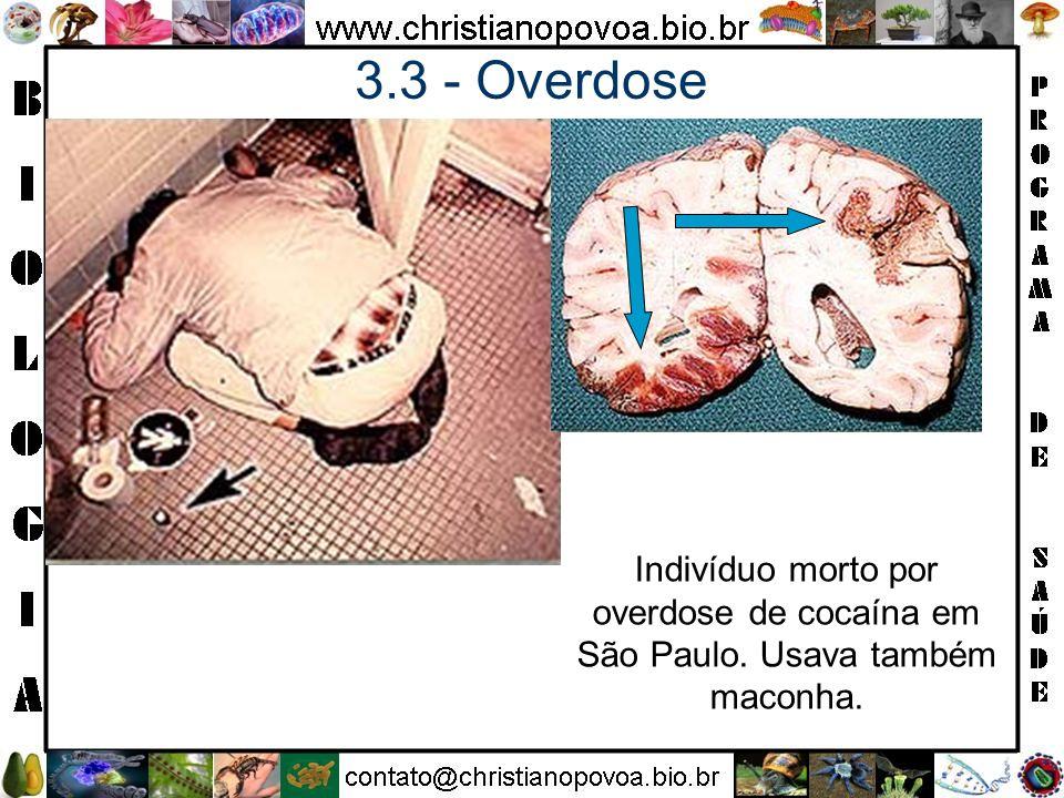 3.3 - Overdose Indivíduo morto por overdose de cocaína em São Paulo. Usava também maconha.