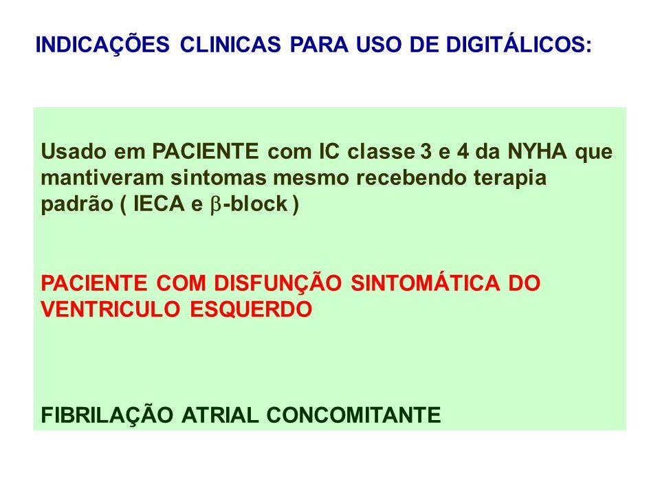 INDICAÇÕES CLINICAS PARA USO DE DIGITÁLICOS: