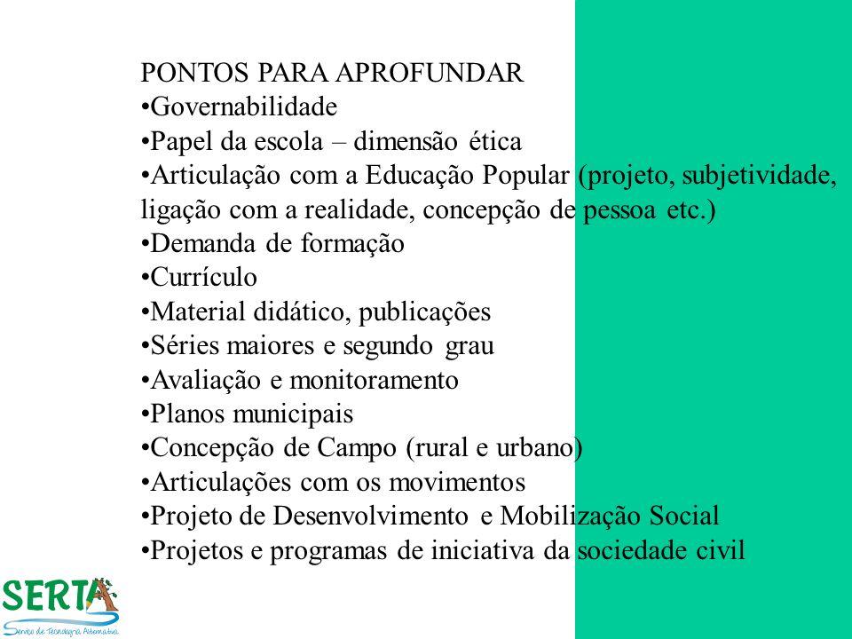 PONTOS PARA APROFUNDAR