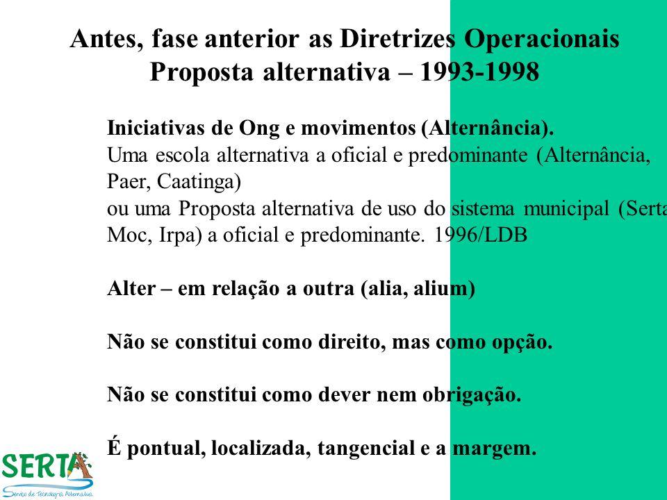 Antes, fase anterior as Diretrizes Operacionais
