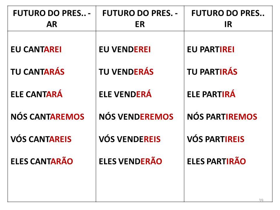 FUTURO DO PRES.. - AR FUTURO DO PRES. - ER. FUTURO DO PRES.. IR. EU CANTAREI. TU CANTARÁS. ELE CANTARÁ.