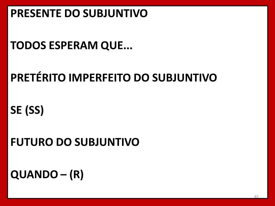PRESENTE DO SUBJUNTIVO TODOS ESPERAM QUE