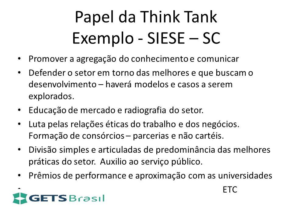 Papel da Think Tank Exemplo - SIESE – SC