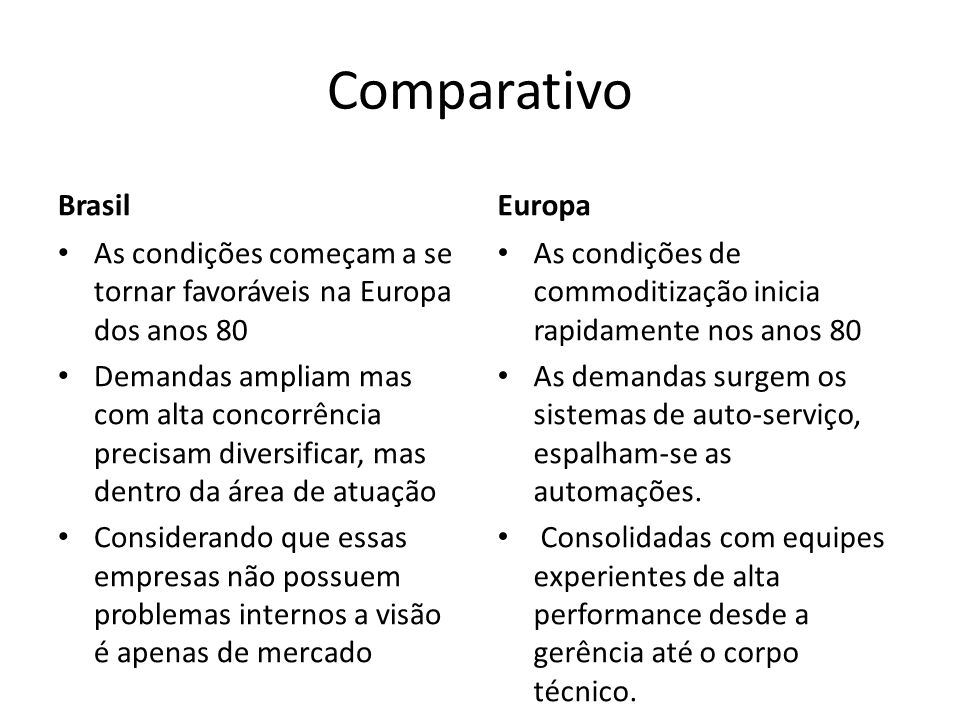 Comparativo Brasil Europa