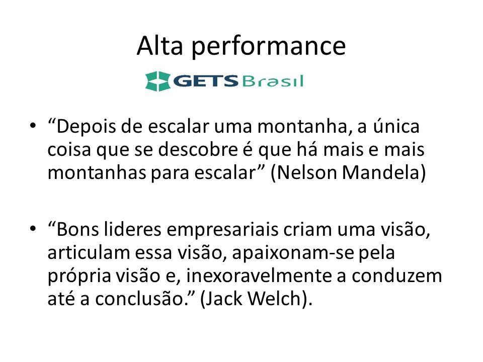 Alta performance Depois de escalar uma montanha, a única coisa que se descobre é que há mais e mais montanhas para escalar (Nelson Mandela)