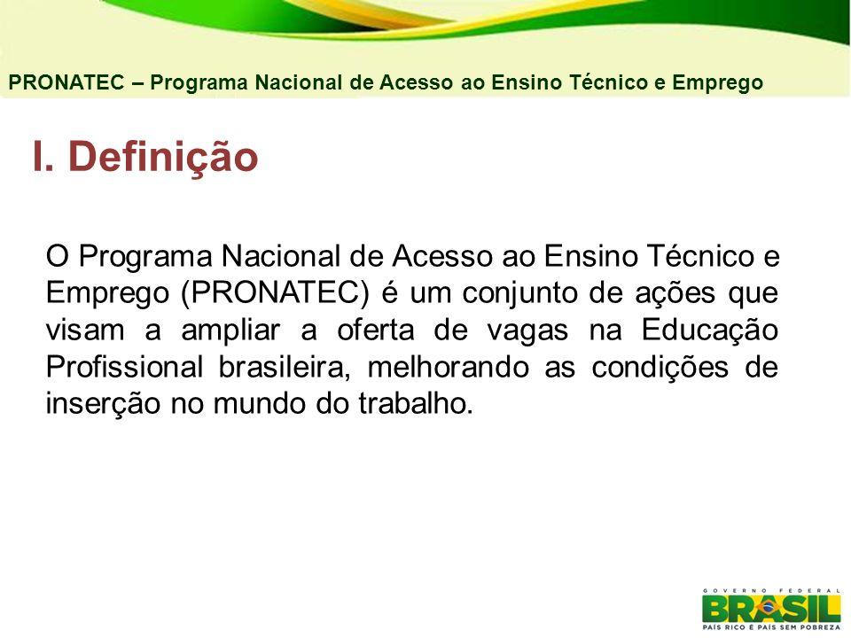 04/03/11 PRONATEC – Programa Nacional de Acesso ao Ensino Técnico e Emprego. Definição.