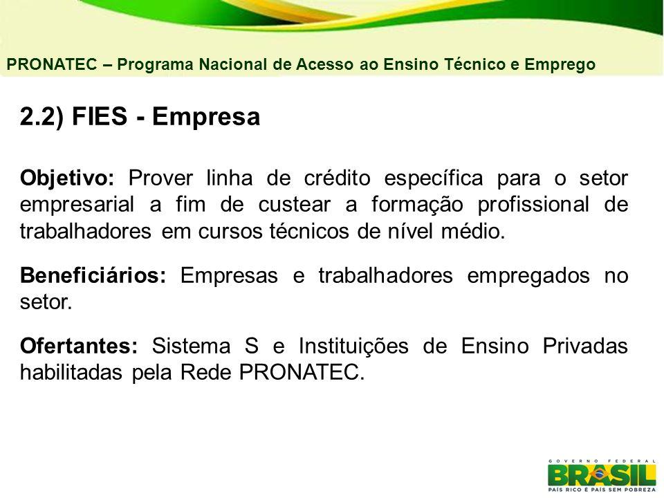 04/03/11 PRONATEC – Programa Nacional de Acesso ao Ensino Técnico e Emprego. 2.2) FIES - Empresa.