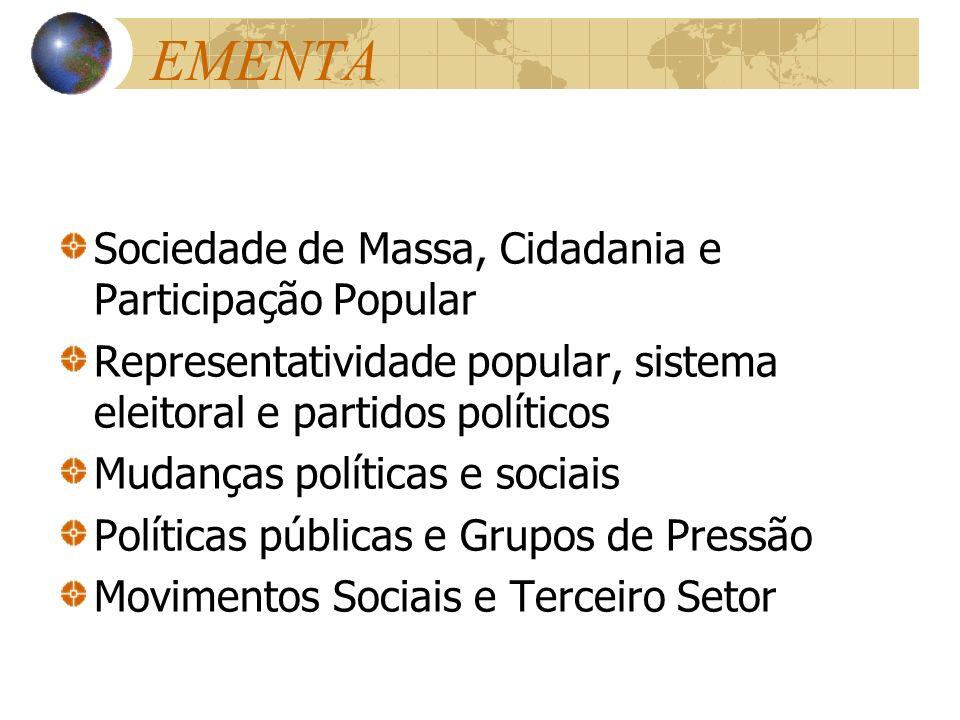EMENTA Sociedade de Massa, Cidadania e Participação Popular