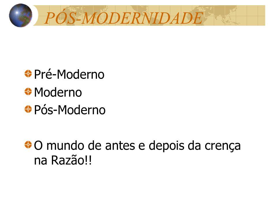 PÓS-MODERNIDADE Pré-Moderno Moderno Pós-Moderno