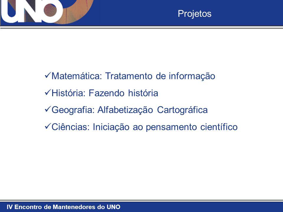 Projetos Matemática: Tratamento de informação. História: Fazendo história. Geografia: Alfabetização Cartográfica.