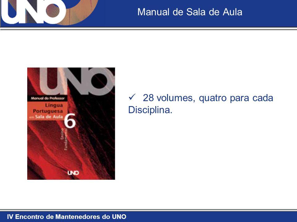 Manual de Sala de Aula 28 volumes, quatro para cada Disciplina.