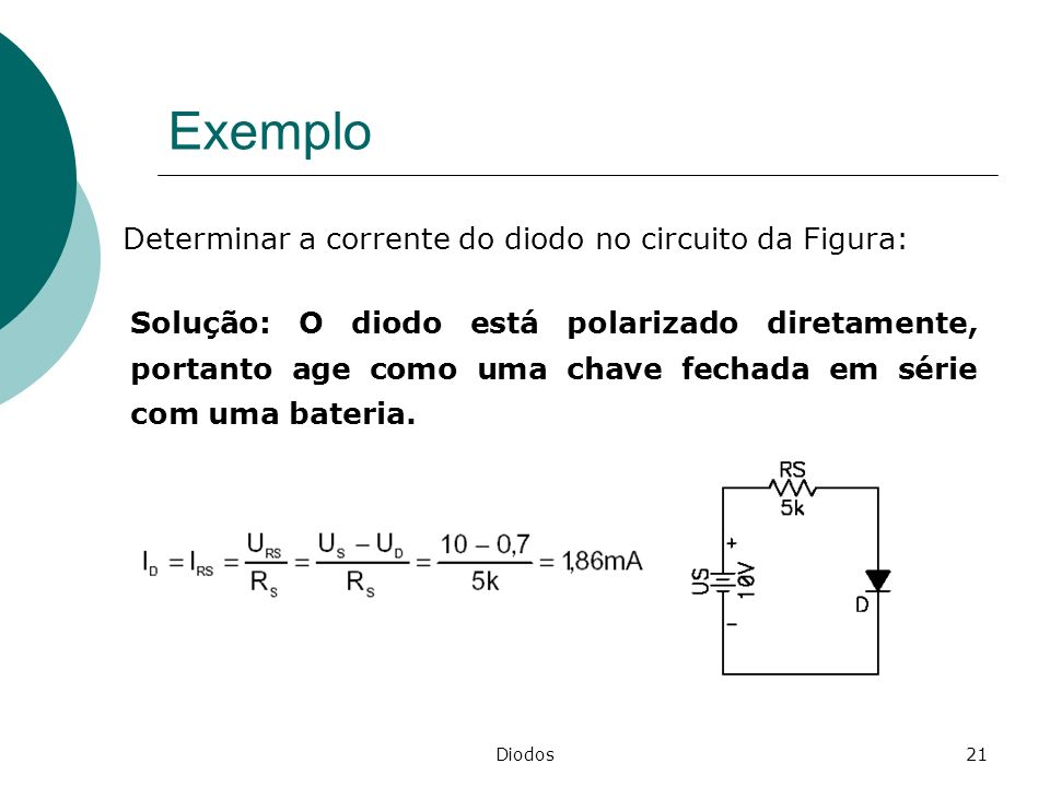Exemplo Determinar a corrente do diodo no circuito da Figura: